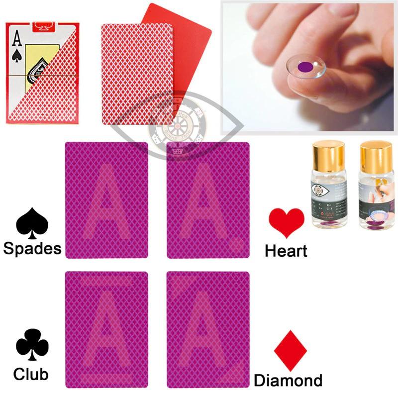 Perspectiva de póquer Texas Hold Em plástico marcado tarjetas magia gafas lentes de contacto UV Gamb