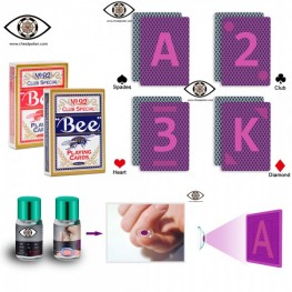 Bee Marked Playing Cards for Invisible Ink Contact Lens Cheat Poker